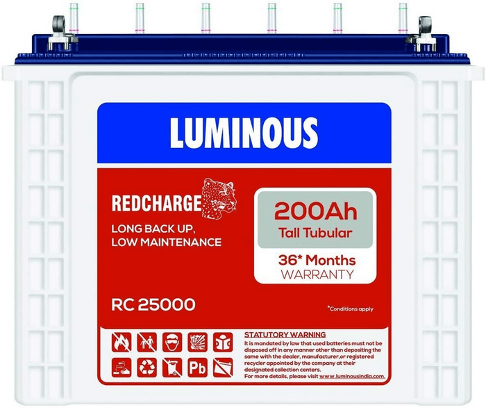 Luminous inverter battery 200Ah RC 25000 Tubular