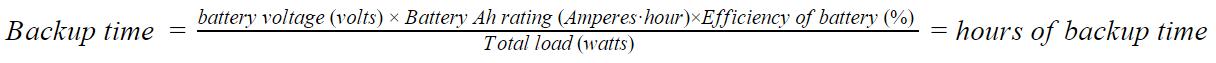 Back up time inverter formula