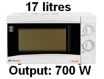 Bajaj 17 L Solo Microwave Oven (1701 MT, White) 001