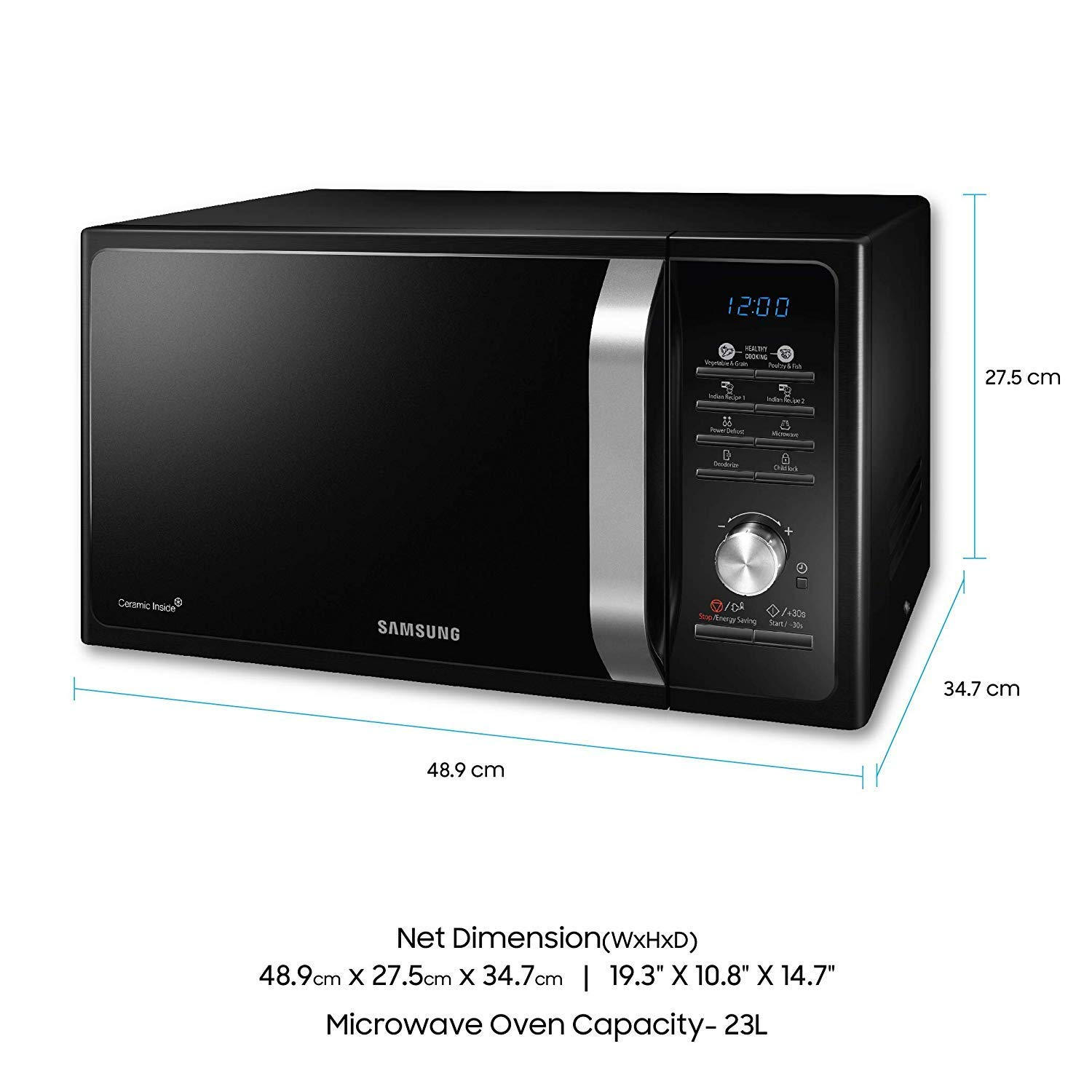 Samsung 23 L Solo Microwave Oven (MS23F301TAKTL, Black) 02