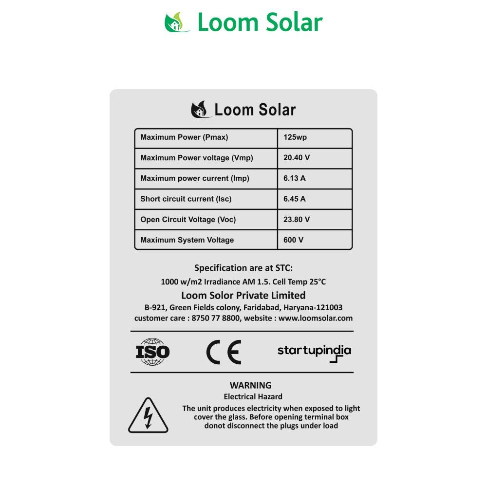 Loom Solar 125 watt tech specs