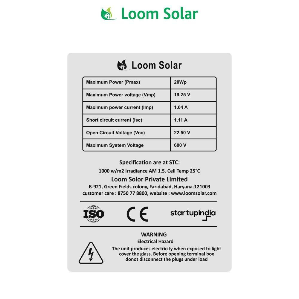 Loom Solar 20 Watt tech specs